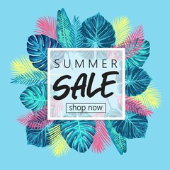 Summer sale exotic and tropic background design.