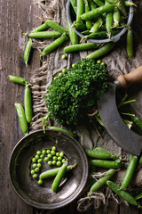 Young organic green pea pods and peas in vintage plate and bundle of parsley over old dark wooden planks with sackcloth textile background. Top view. Dark rustic style. Harvest, healthy eating.