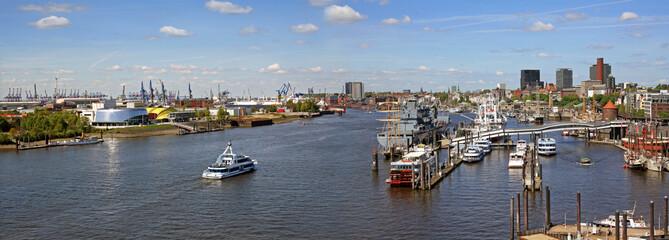 Panoramic view of Hamburg port and river Elbe