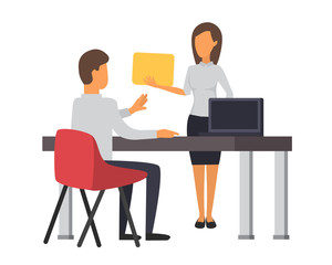 Man andwoman working at office. Business office vector