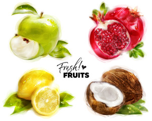 Set of Watercolor Fresh Fruits with Fine Dots Paper Texture. Hand Drawn Green Apple, Pomegranate, Lemon and Coconut. Isolated on White. Organic Eco Food for Cafe Menu, Juice Label, Sticker, Banner.