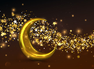 Crescent golden moon.