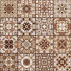 A collection of ceramic tiles in brown retro colors. A set of square patterns in ethnic style. Vector illustration.