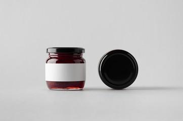 Cherry Jam Jar Mock-Up - Two Jars. Blank Label