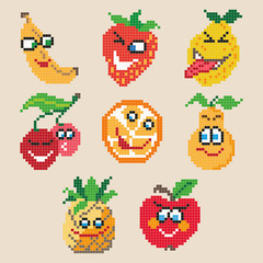 Set of different pixel cartoon fruits. Vector illustration