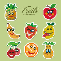 Colorful pixel patch badges with fruits. Vector illustration
