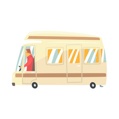Vintage cartoon travel minibus. Camper van vector Illustration