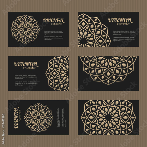 Business card set golden mandala decorative elements ornamental business card set golden mandala decorative elements ornamental floral cards with oriental pattern colourmoves