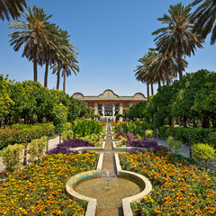 Narenjestane Qavam Garden in Shiraz with Persian Landscaping and Small Canals Leading to Pavilion