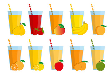 Set of fresh fruit juices and cocktails, fruit smoothie collection isolated on white background, pear, strawberry, mango, banana, peach, orange, lemon, red apple, apricot, green apple