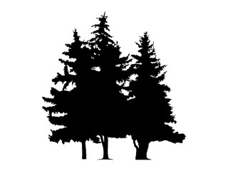 Silhouette of three pine trees. Hand made.