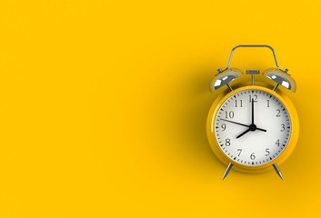 Alarm clock on yellow background, 3D rendering