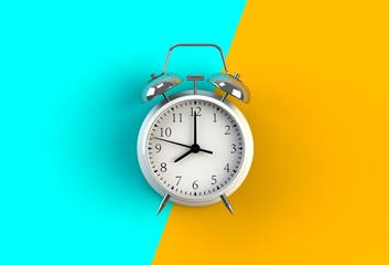 Alarm clock on blue and yellow background, 3D rendering