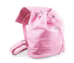 Pink backpack with open pocket on white background