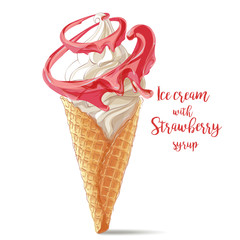 Vector ice cream in waffle cone with strawberry spiral
