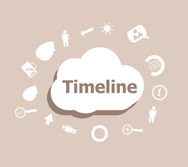 Text Timeline. Time concept . Icons set for cloud computing for web and app