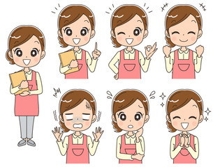 女性介護士(保育士)のイラスト(セット・全身)