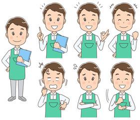 男性介護士(保育士)のイラスト(セット・全身)
