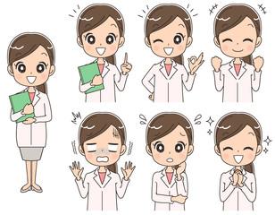 女性薬剤師のイラスト(セット・全身)