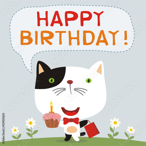 Happy Birthday Funny Kitten Cat With Birthday Cake And Gift