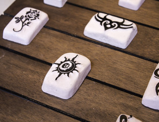 Stones with tattoo design
