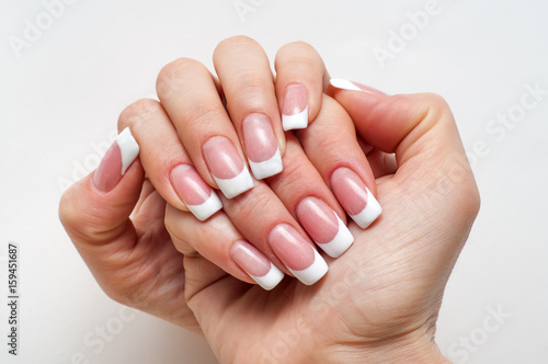 Wedding French Manicure On Long Square Nails