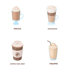 Mocha, macchiato, frappe, take coffee.Different types of coffee set collection icons in cartoon style vector symbol stock illustration web.