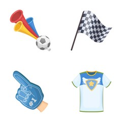 Pipe, uniform and other attributes of the fans.Fans set collection icons in cartoon style vector symbol stock illustration web.