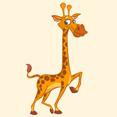 Cartoon giraffe. Vector illustration of funny cute giraffe. T-shirt mock up
