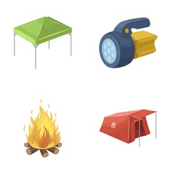 Awning, fire and other tourist equipment.Tent set collection icons in cartoon style vector symbol stock illustration web.