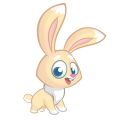 Happy rabbit cartoon isolated on white background. Vector illustration of a cute bunny.