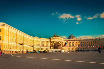 Palace square at sunset in Saint Petersburg, Russia.