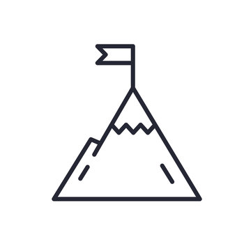 Mountain with flag on a peak. Leadership illustration. Success icon. Line design