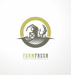 Farm fresh locally grown products. Promotional logo design idea with barn and tree.
