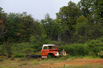 An old rusted vintage truck abandoned, Patagonia, Chile, South America