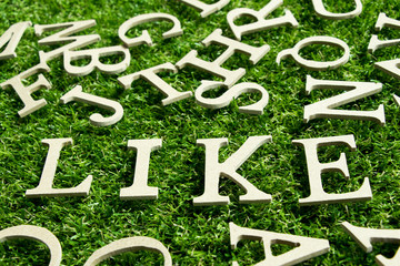 Like wording placed on artificial green grass background