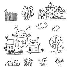 Houses coloring page
