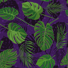 Seamless hand drawn tropical pattern with palm leaves, jungle exotic leaf on dark background