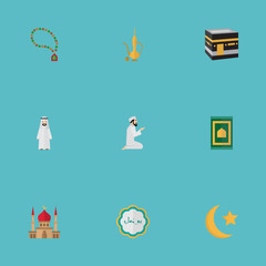 Flat Icons Bead, New Lunar, Arabian And Other Vector Elements. Set Of Holiday Flat Icons Symbols Also Includes Carpet, Arabian, Rug Objects.