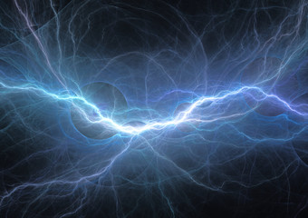 Abstract blue lightning, plasma background