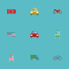Flat Icons Automobile, Chopper, Metro And Other Vector Elements. Set Of Auto Flat Icons Symbols Also Includes Passenger, Bicycle, Air Objects.