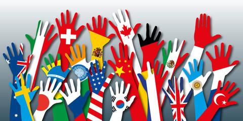 drapeaux - pays - main - solidarité - union - paix - humanité - nation