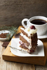 Chocolate and whipped cream cake with cherries or Black Forest cake
