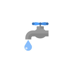 Flat Icon Tap Water Element. Vector Illustration Of Flat Icon Faucet Isolated On Clean Background. Can Be Used As Faucet, Tap And Water Symbols.