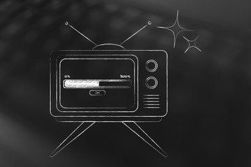 retro style television with progress bar loading on screen