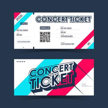 Concert ticket Card. Element template for design. Vector illustration.