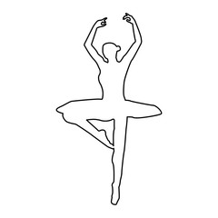 Ballet dancer   the black color icon .