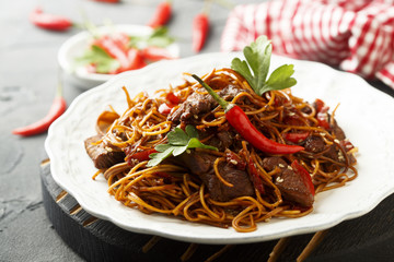 Asian noodles with beef and vegetables