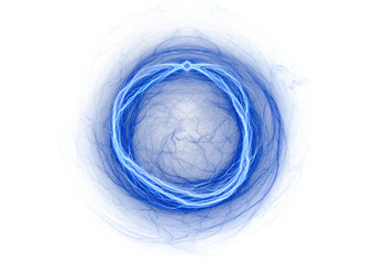 Blue abstract lightning on white, modern electric background
