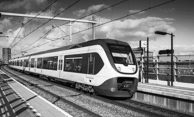 Passenger electric train, black and white